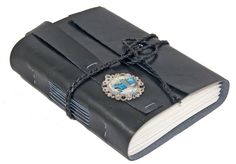 Black Faux Leather Journal with Auto Cameo Bookmark by boundbyhand