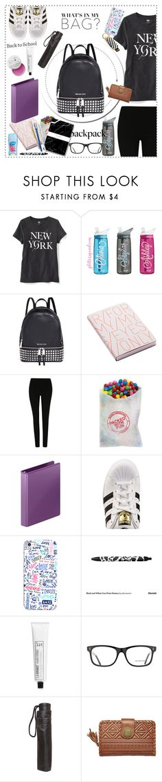 """""""In My Backpack"""" by biange ❤ liked on Polyvore featuring Old Navy, Michael Kors, Nuuna, George, adidas Originals, Poketo, Casetify, L:A Bruket, Burberry and Dorothy Perkins"""