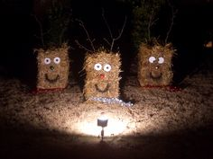 We made these for our front yard after having leftover hay from Fall and not knowing what to do with it :0)!