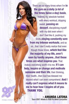 Inspiring words from an IFFB Bikini Pro Competitor.  Visit our blog for more inspiring fitness photos and exercise tips.