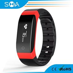 SMA Heart Rate Monitor Wristband Fitness tracker Smartband Touch Button Sports Bracelet Compatible with Iphone 6 and Android Smartphones Red -- You can get additional details at the image link.