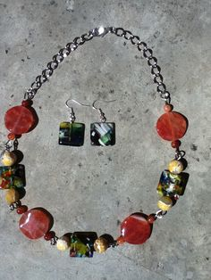 Dragon vein agates in Orange and yellow square by N2BEADZNMORE, $40.00