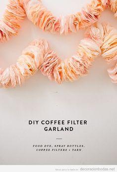 Coffee Filter Garland - Guirnalda filtros café decoración boda barata DIY