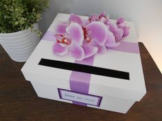 Items similar to Wedding Card Box Bridal Shower Small Intimate Wedding Lavender Purple Orchids, Personalized Tag You Can Customize Colors, Flowers 9 inch box on Etsy Purple Wedding, Trendy Wedding, Diy Wedding, Wedding Favors, Wedding Lavender, Wedding Dinner, Wedding Dress, Money Box Wedding, Card Box Wedding
