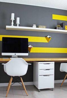 Linhas amarelas no ambiente branco e cinza