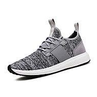 Masculino-Tênis-Conforto-Rasteiro-Preto Cinzento ecuro Cinzento Claro-Tecido-Ar-Livre Casual Para Esporte