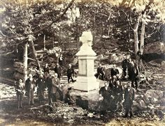 9th Massachusetts veterans at the dedication of their monument at the foot of Big Round Top at Gettysburg in June 1885.
