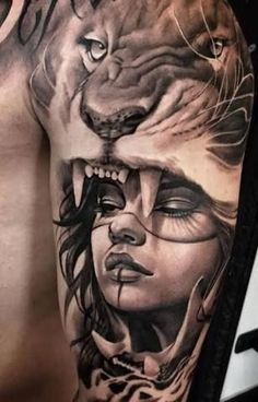 Amazing girl and lion tattoo arm band tattoo, man arm tattoo, tattoo ink, Lion Tattoo Sleeves, Leg Sleeve Tattoo, Leg Tattoos, Body Art Tattoos, Tattoo Shoulder, Tattos, Tattoo Henna, Arm Tattoo, Lion Tattoo Design