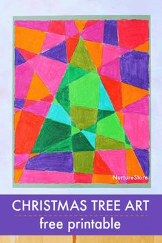Stained glass Christmas tree colouring in sheet - easy Christmas tree craft, warm and cool colors art lesson Christmas Tree Pictures, Christmas Crafts To Make, Stained Glass Christmas, Christmas Activities For Kids, Colorful Christmas Tree, Free Christmas Printables, Glass Christmas Tree, Fun Crafts For Kids, Christmas Crafts For Kids