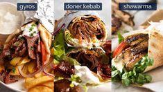 Shawarma vs Doner Kebab vs Gyros Kebab Recipes, Lamb Recipes, Greek Recipes, Healthy Recipes, Shawarma, Serious Eats, Chicken Doner, Doner Kebabs, Meals