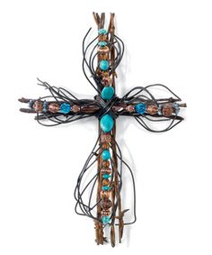 Barbed Wire Crosses....metal & copper wire with acrylic stones