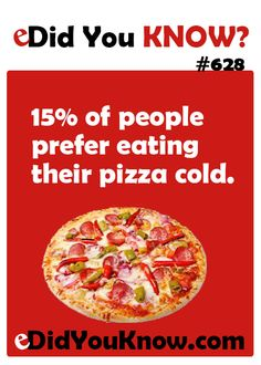 15% of people prefer eating their pizza cold.  ► Click here for more: eDidYouKnow.com