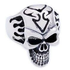 Stainless Steel Fire Tribal Skull Men Biker Ring