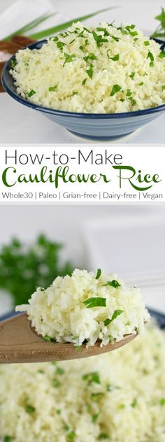 Paleo Diet - How To Make Cauliflower Rice: A step-by-step photo tutorial how to cook cauliflower rice Paleo Side Dishes, Gluten Free Sides Dishes, How To Cook Cauliflower, Cauliflower Recipes, Riced Cauliflower, Cooking Cauliflower Rice, Califlower Rice, Paleo Recipes, Real Food Recipes