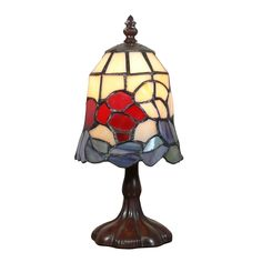 Tiffany lamp with a height of cm, with tulip decoration in stained glass. Louis Comfort Tiffany, Applique Art Deco, Statue En Bronze, Tiffany Art, Art Deco Lighting, Tree Shapes, Stained Glass, Bulb, Table Lamps