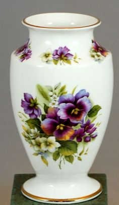 The Amber Collection Staffordshire England Fine Bone China Pansy Vase
