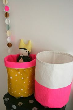 Canvas Craft Buckets - an idea for using up all that canvas you've been hoarding