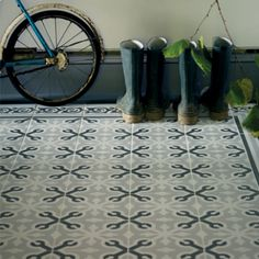 Grey and Navy Patterned Floors Fired Earth have Beautiful Patterned Tiles . get the look with Tile Emporium Highcliffe a Fired Earth Retailer. Bathroom Shop, Bathrooms, Bathroom Ideas, Tiled Hallway, Hall Flooring, Ceramic Shop, Porcelain Ceramic, Fired Earth, Bath Tiles