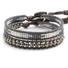 Chan Luu - Pyrite Mix Single Wrap Bracelet Set on Natural Grey Leather, $115.00 (http://www.chanluu.com/bracelets/pyrite-mix-single-wrap-bracelet-set-on-natural-grey-leather/)