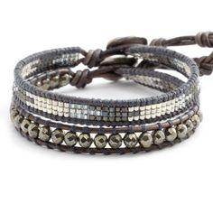 Chan Luu - Pyrite Mix Single Wrap Bracelet Set on Natural Grey Leather, $115.00 (http://www.chanluu.com/bracelets/pyrite-mix-single-wrap-bracelet-set-on-natural-grey-leather/)