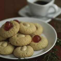 Italian Almond Cookies recipe from Epicurious. Ingredients: 2 cups blanched whole almonds (about 12 ounces), plus 15 for garnishing, cup sugar, 2 large egg whites, at room . Best Italian Recipes, Italian Desserts, Favorite Recipes, Italian Bakery, Italian Almond Cookies, Almond Meal Cookies, Cookie Recipes, Dessert Recipes, Amaretti Cookies