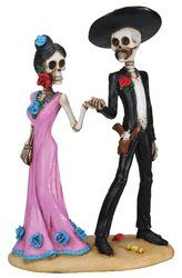 Amazon.com: Day of The Dead Skeleton Couple Holding Hands Figurine: Home & Kitchen