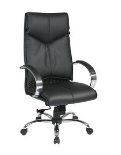 Pro-Line II Deluxe High Back Black Executive Leather Chair with Chrome Finish Base and Padded Polished Aluminum Arms