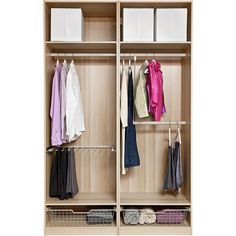 IKEA PAX Wardrobe with interior organizers, white stained oak effect,... (6.553.845 IDR) ❤ liked on Polyvore featuring home, home improvement and storage & organization
