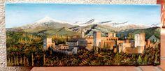 La Alhambra de Granada. Óleo sobre lienzo 50x20cm formato panóramico.