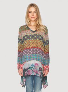 Mode+V-Neck+Tunic+Choose+the+Johnny+Was+MODE+V-NECK+TUNIC+to+add+a+pop+of+print+to+your+wardrobe!+This+tunic+top+features+a+patchwork+of+colorful+geometric+patterns+accented+by+a+floral+print+bottom+panel.+Cut+for+a+flowy+fit,+this+printed+tunic+can+be+worn+as+a+mini+dress,+over+leggings,+or+with+jeans!  -+Printed+Rayon+Georgette -+V-Neckline,+Long+Sleeves,+Split+Flutter+Hem -+Signature+Print -+Care+Instructions:+Machine+Wash+Cold,+Tumble+Dry+Low