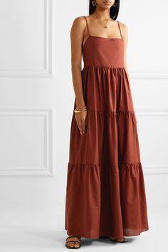 Matteau - Open-back tiered cotton-poplin maxi dress Casual Summer Dresses, Modest Dresses, Cute Dresses, Summer Outfits, Short Dresses, Boho Maxi Dresses, Awesome Dresses, Party Dresses, The Dress