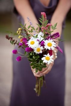 wildflower bouquet - but i think cornflowers and daisies and something orange or yellow would be pretty