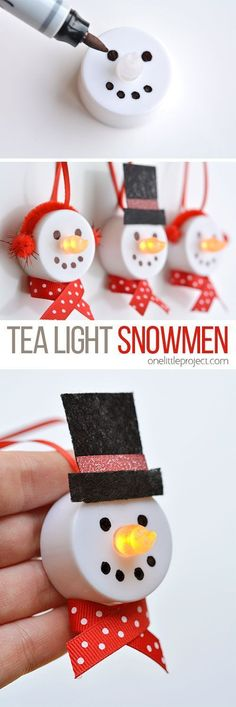 """These tea light snowman ornaments are really easy to make and they look ADORABLE! Turn on the tea light and the """"flame"""" becomes the snowman's carrot nose! #artsandcrafts"""