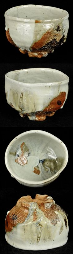 "Tadashi Nishihata   Tea Bowl No. 17  w/ Hai-yu glaze  (w/ wooden box) wood-fired ceramic  5"" x 4.5"" x 4""h"