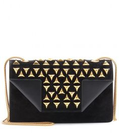 08a90eef18db Saint Laurent Betty Structured Leather and Suede Studded Shoulder Bag in  Black (nero nero)