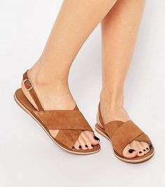 ASOS New Look Real Leather Cross Strap Sandal