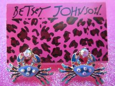 Betsey Johnson  crystal crab earrings & Free Gift $6.99 #BetseyJohnson #Stud