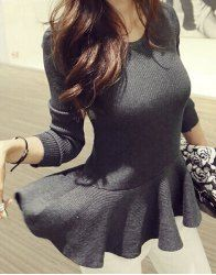 Fashionable Scoop Neck Solid Color Long Sleeve Ruffled Sweater For Women (GRAY,ONE SIZE(FIT SIZE XS TO M)) | Sammydress.com Mobile