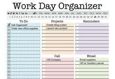 Work Day Organizer - EDITABLE - Work planner, to do, planner, checklist, daily, weekly - INSTANT DOWNLOAD