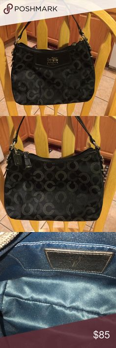 Coach Madison Dotted Op Art Small Black Exterior, blue interior. Like new condition. Tags removed, but never carried. Coach Bags Mini Bags
