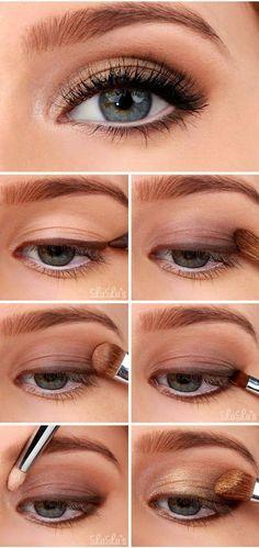 Idée de maquillage naturel et lumineux pour le jour J. Des yeux embellis par des tons marrons et cuivré qui se marieront à merveille avec toutes les tenues.