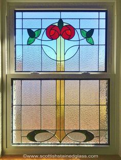 double hung window stained glass | Art Deco Stained Glass Cabinet Doors