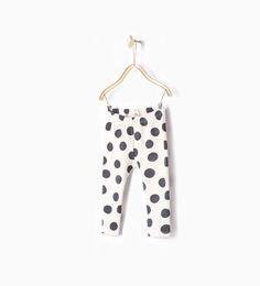 Image 1 of Polka dot print leggings from Zara