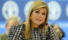 16 October 2014 - Queen Maxima attends the FAO conference in Rome -dress by Natan