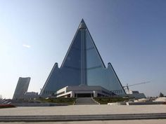 """Rare images have emerged of the pyramid shaped 105 storey building in Pyongyang which was labelled by Esquire magazine in 2008 the """"worst building in the history of mankind""""."""