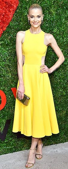 Jaime King brightened up the red carpet in a sunshine Michael Kors dress.