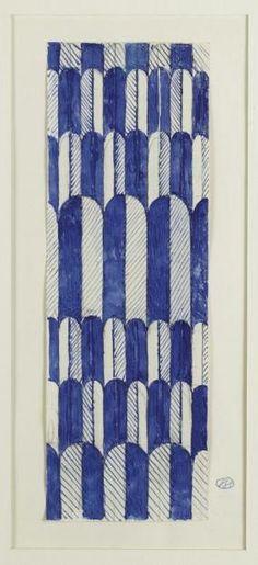 JOSEPH HOFFMANN PROJET DE TISSU Encre au stylo plume sur papier quadrillé