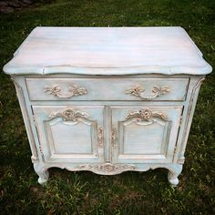 Pale Blue and Distressed Accent Side Table