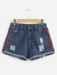 Stagioni Fashion for Women, Denim Shorts for Women. Item: Stripe Contrast Ripped Denim Shorts for Women Cute Summer Outfits, Trendy Outfits, Cool Outfits, Denim Fashion, Teen Fashion, Fashion Outfits, Fast Fashion, Ripped Denim, Denim Shorts