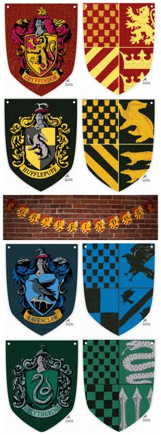 DIY Harry Potter House Banners Printables from Harry Potter Wish List.Make DIY Harry Potter House Banners (or just use the graphics) for: Gryffindor Hufflepuff Ravenclaw Slytherin The Printables include: House crest Coat of arms Letters. Baby Harry Potter, Harry Potter World, Deco Noel Harry Potter, Harry Potter Banner, Harry Potter Fiesta, Estilo Harry Potter, Harry Potter Thema, Classe Harry Potter, Ideas Para Fiestas